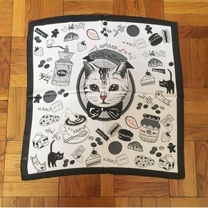 Cat and Dessert Print Black and White Neck Scarf